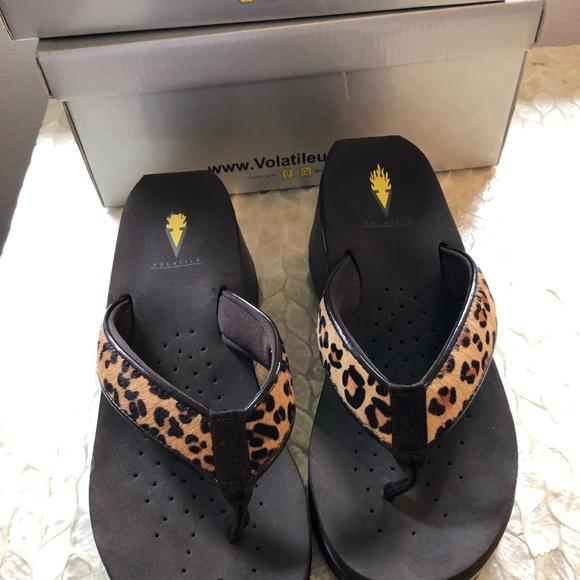 Volatile Flip Flop Cheetah Print